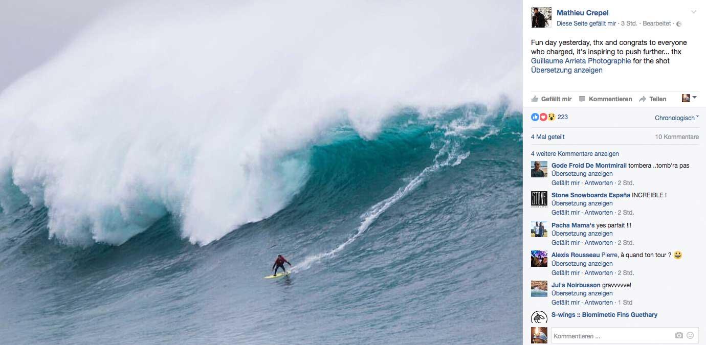 Im Baskenland reichte der Swell sogar aus das mystische Riff von Belharra zum Leben zu erwecken, das nur alle paar Jahre anfängt zu brechen. Hier zu sehen ist Mathieu Crepel, der eigentlich Snowboardprofi ist. Anscheinend fühlt er sich auch im Wasser recht wohl.