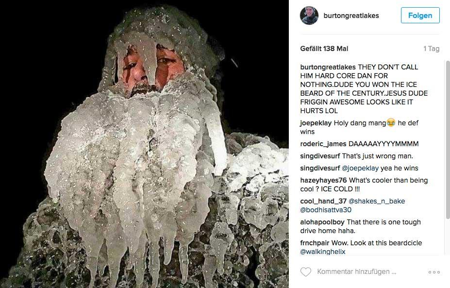 Der Nachteil beim Süßwassersurfen: Es gefriert zu Eis. Was so ein Rekord-Eisbart wiegt, wurde leider nicht bekannt.