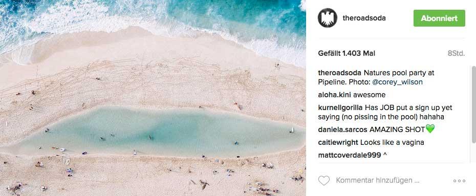 Der Strand von Pipeline wie er gerade aussieht. Normalerweise sollte man aus dieser Perspektive eigentlich keinen Sand sehen.