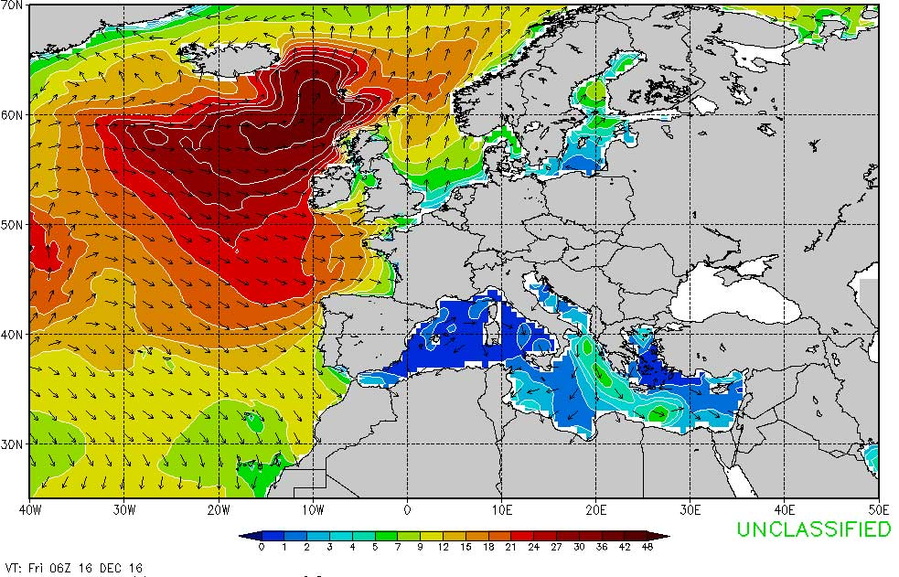 So sieht die Prognose der Wellenhöhe am nächsten Freitag aus. Während in England dann Land unter sein könnte, dürften sich in Portugal die Tow-In-Teams vorbereiten.