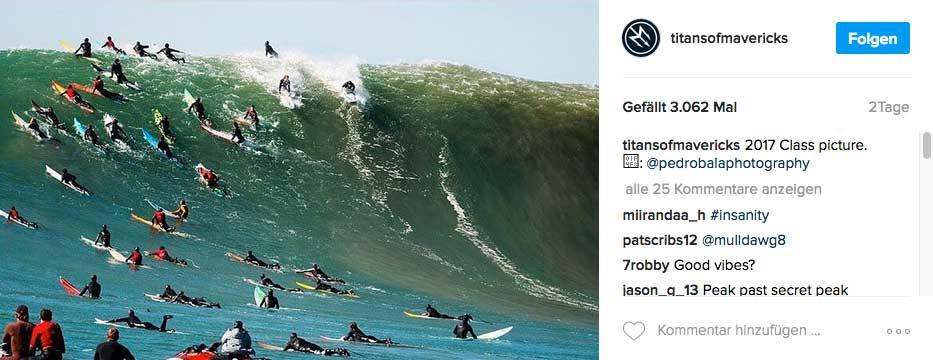 Es heißt, dass bis zu 60 Surfer gleichzeitig im Lineup waren.