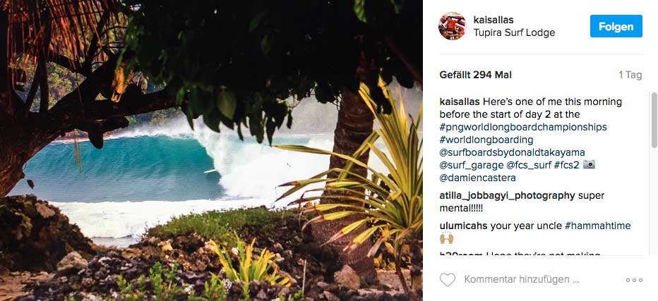 Aufgenommen wurde das Foto erst diese Woche, als die WSL-Longboardtour für einen Contest nach Papua-Neuguinea kam.
