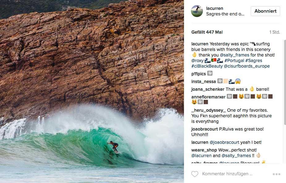 Diese Welle fand zum Beispiel Lee-Ann Curren an der Südspitze Portugals bei Sagres.