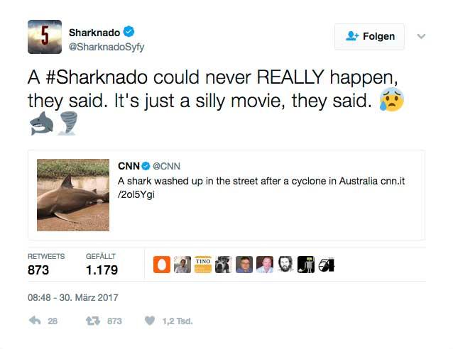 Wenn das mal kein Markting-Coup für den fünften Sharknado-Streifen ist.