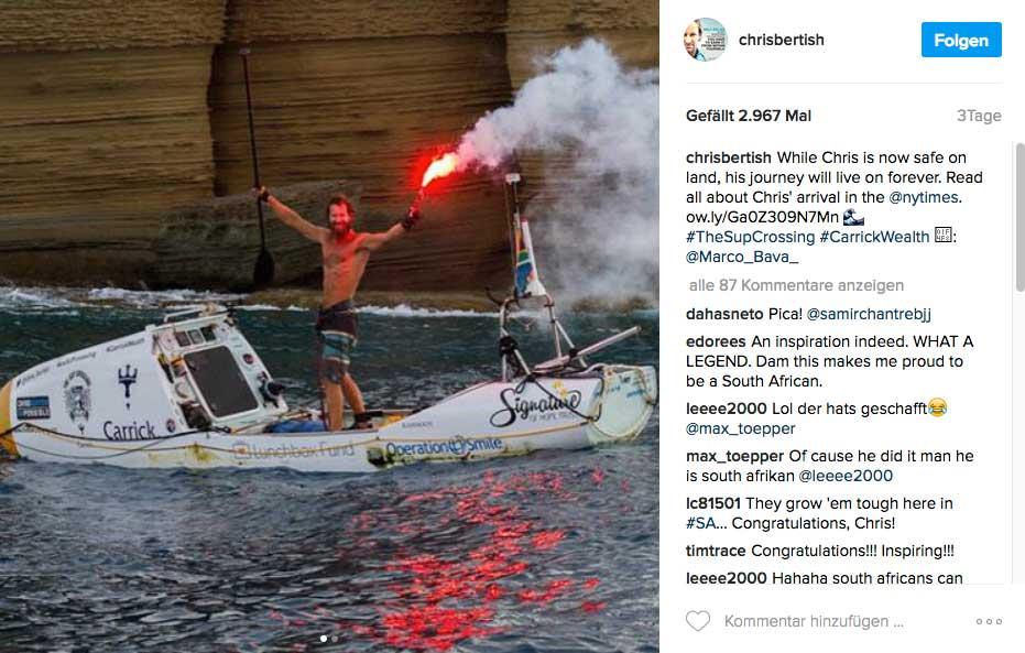 Am Ziel nach 93 Tagen Einsamkeit. Chris war nämlich ohne Begleitboot unterwegs und seine einzigen Kontakte kamen per Satellitentelefon zustande.
