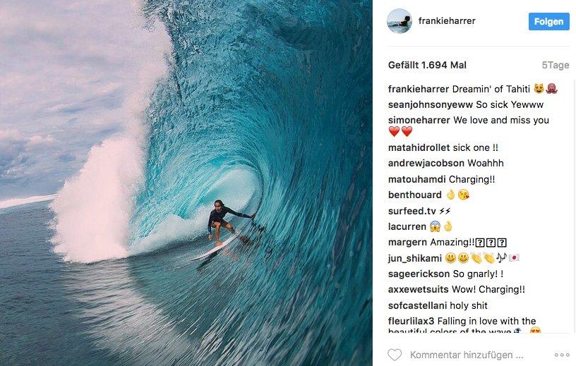 Solche Wellen wie hier in Tahiti surft Frankie, wenn sie nicht gerade mit dem deutschen Team unterwegs ist.