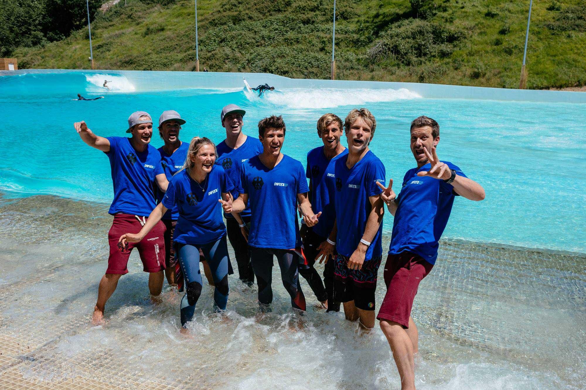 Das deutsche Team im Wavegarden