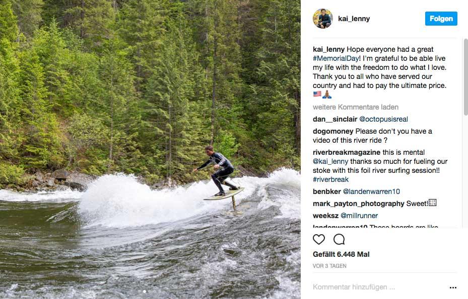 Hydrofoil Riversurfing von Kai Lenny in den USA