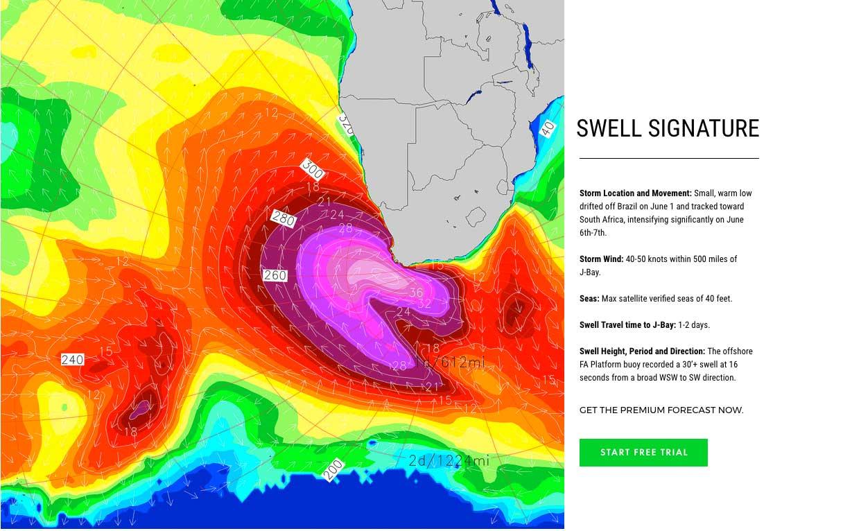 Das Swellmodell von Surfline zeigt wie der Supersturm auf Afrika zustürmt.