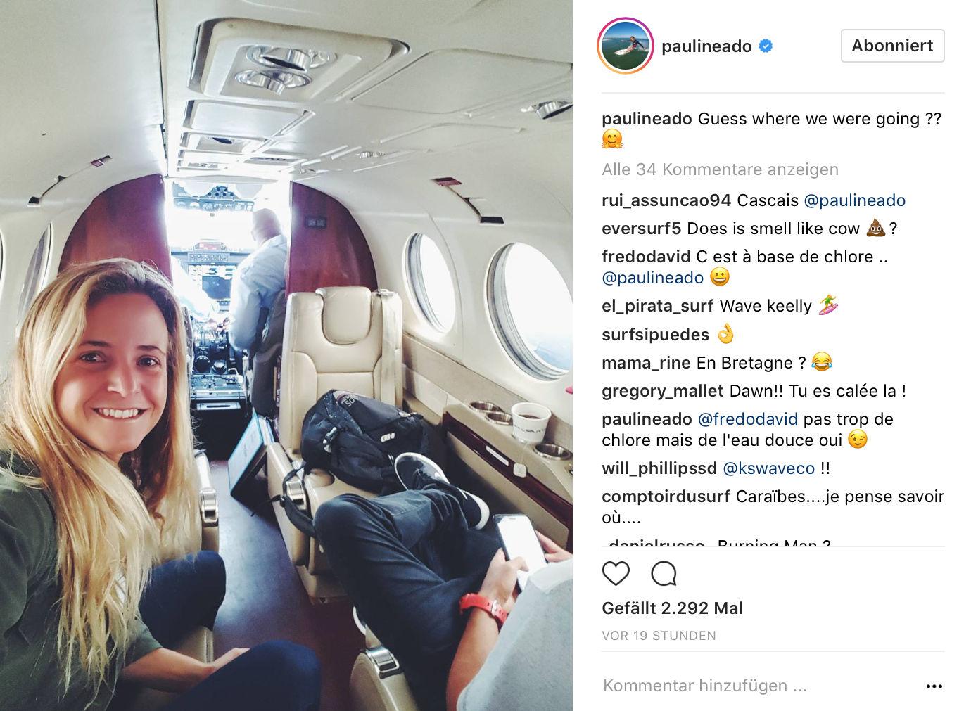 Die Französin Pauline Ado gehört zu den Eingeladenen. So wie es aussieht wurde sie sogar per Privatjet zum Wavepool eingeflogen.