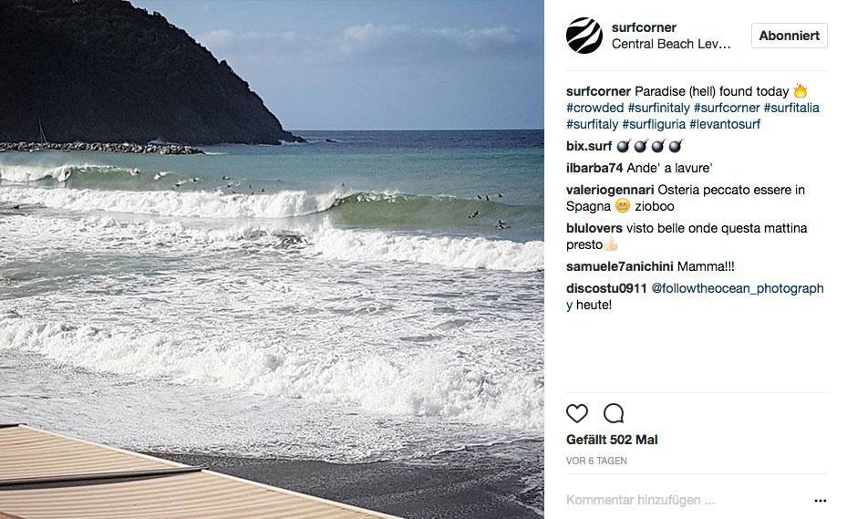 Es gibt aber auch Tage, an denen jeder weiß wo die Wellen brechen. Und dann sieht es in Italien so aus.