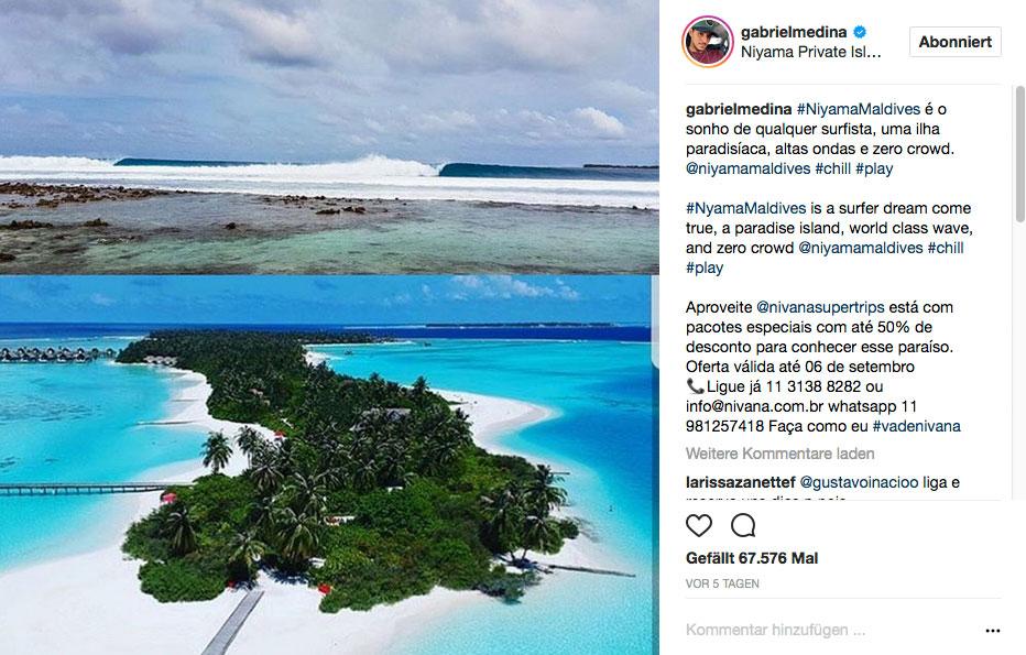 Wo Gabriel Medina Urlaub macht