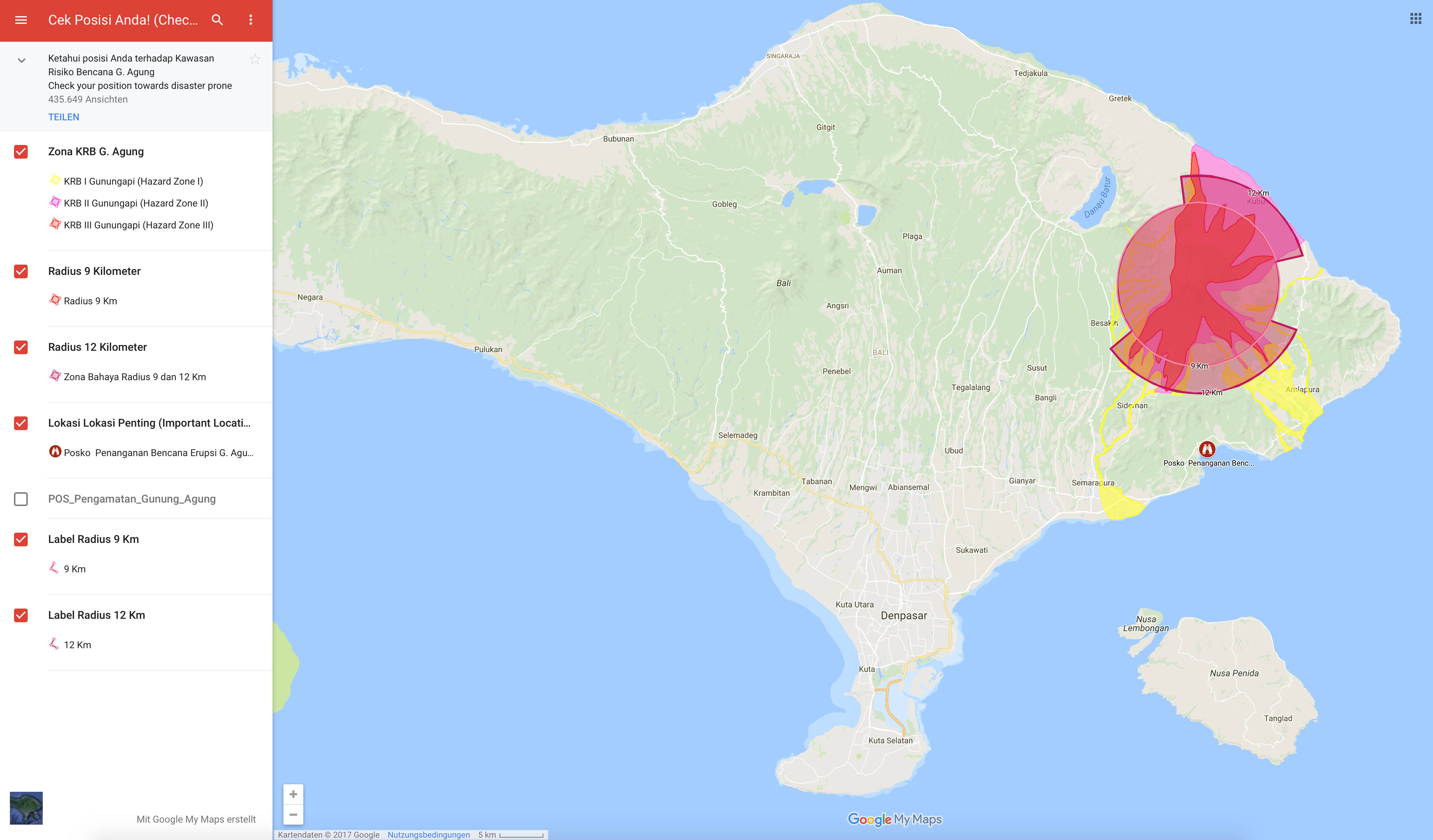 Als Surfer sollte man von dem direkten Ausbruch wohl nicht betroffen werden. Zumindest laut der Gefahrenzonenkarte rund um den Vulkan Agung.