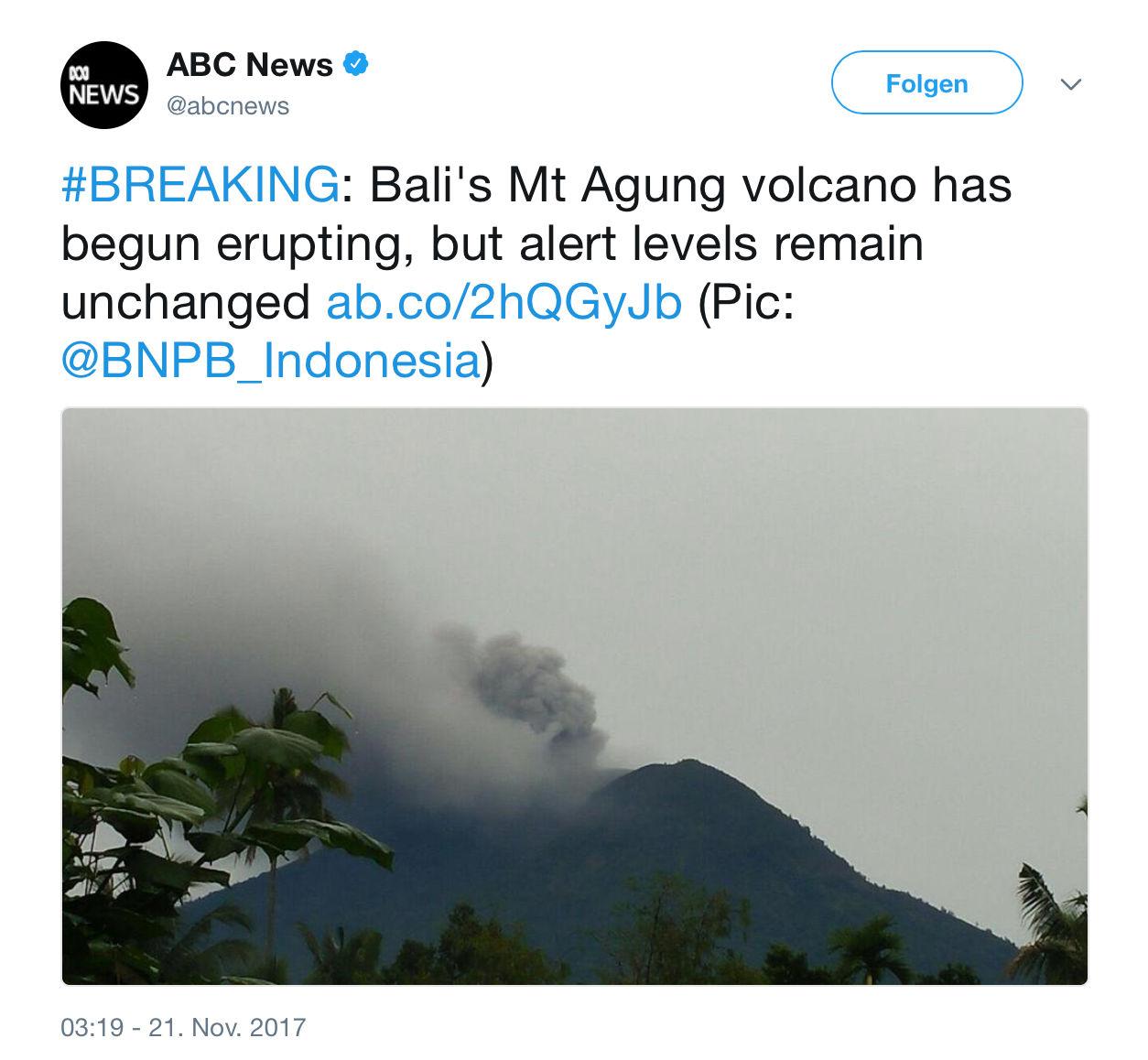ABC in den USA meldet schon einen echten Vulkanausbruch am Dienstag.