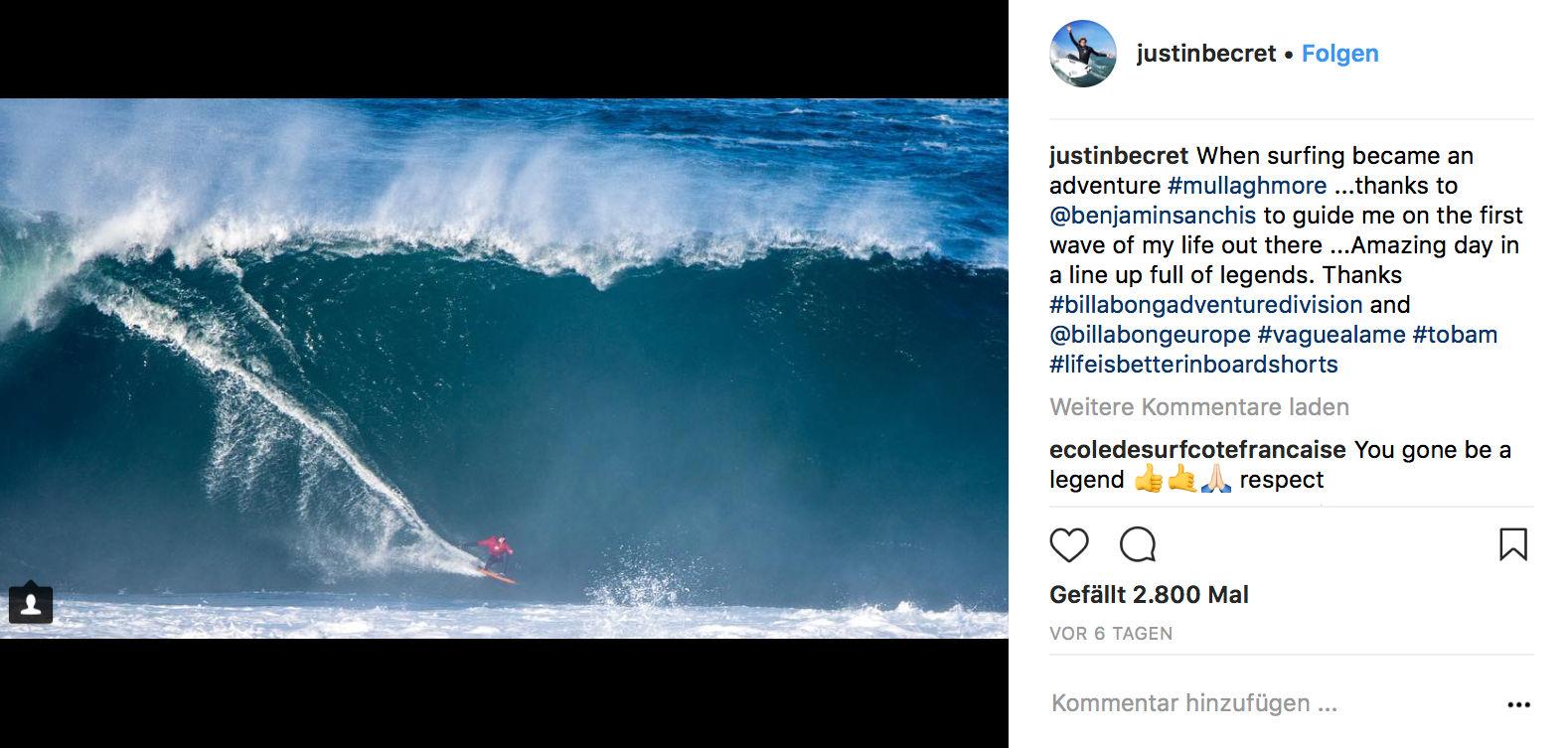 Ein Ritt des jüngsten Surfers im Lineup, als Mullaghmore Anfang November in dieser Größe brach.