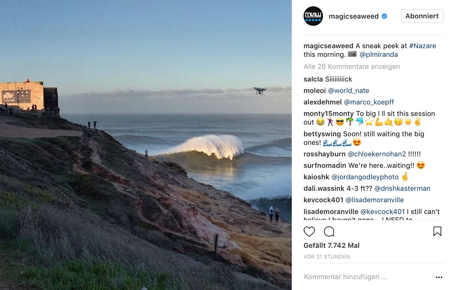 Ab einer gewissen Größe ist es schwer zu sagen wie groß die Wellen wirklich sind.