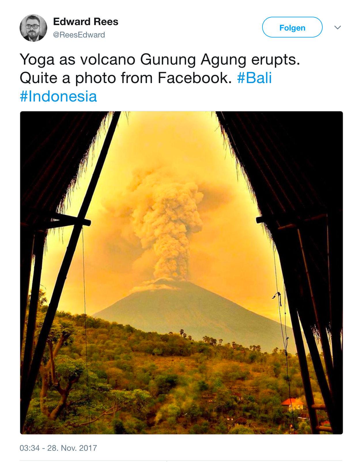 Heute sieht man auf Bali statt dem Agung nur eine graue Wolkenwand.