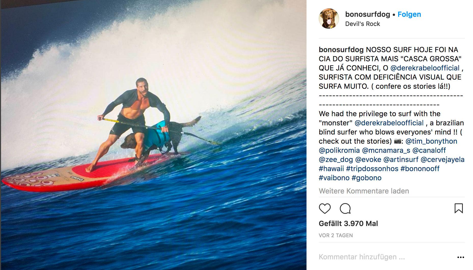 Safety first! Ohne Rettungsweste geht Bono nicht surfen.