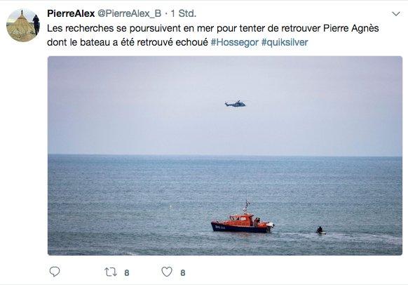 Momentan sucht die Küstenwache das Meer vor Hossegor nach Pierre Agnes ab.