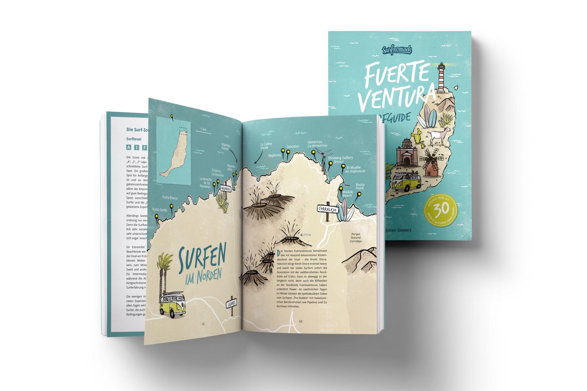 Der Surfguide Fuerteventura ist nicht nur informativ, sondern auch wunderschön illustriert.