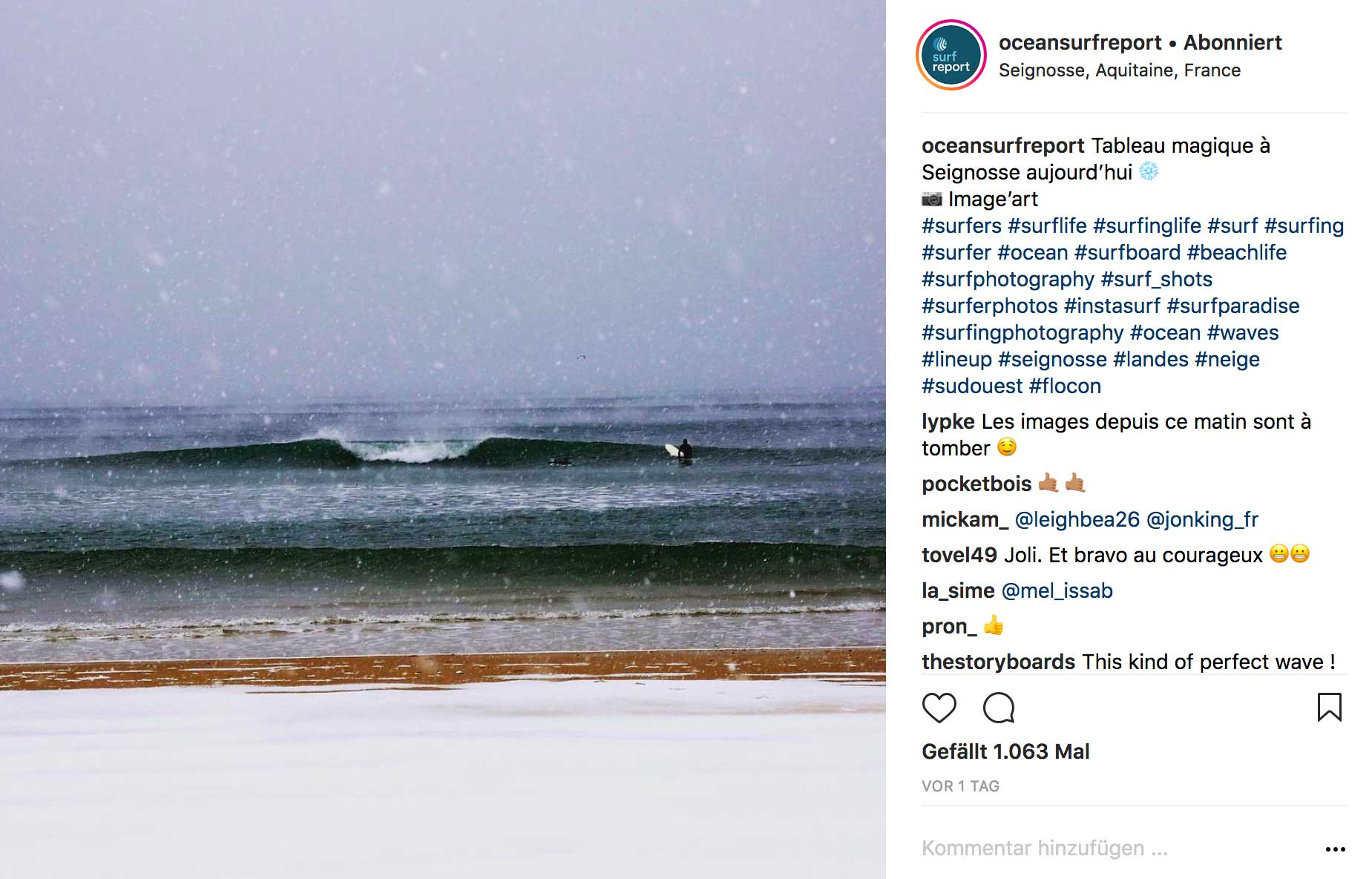 Eine Surfsession in Seignosse mit geschlossener Schneedecke am Strand.