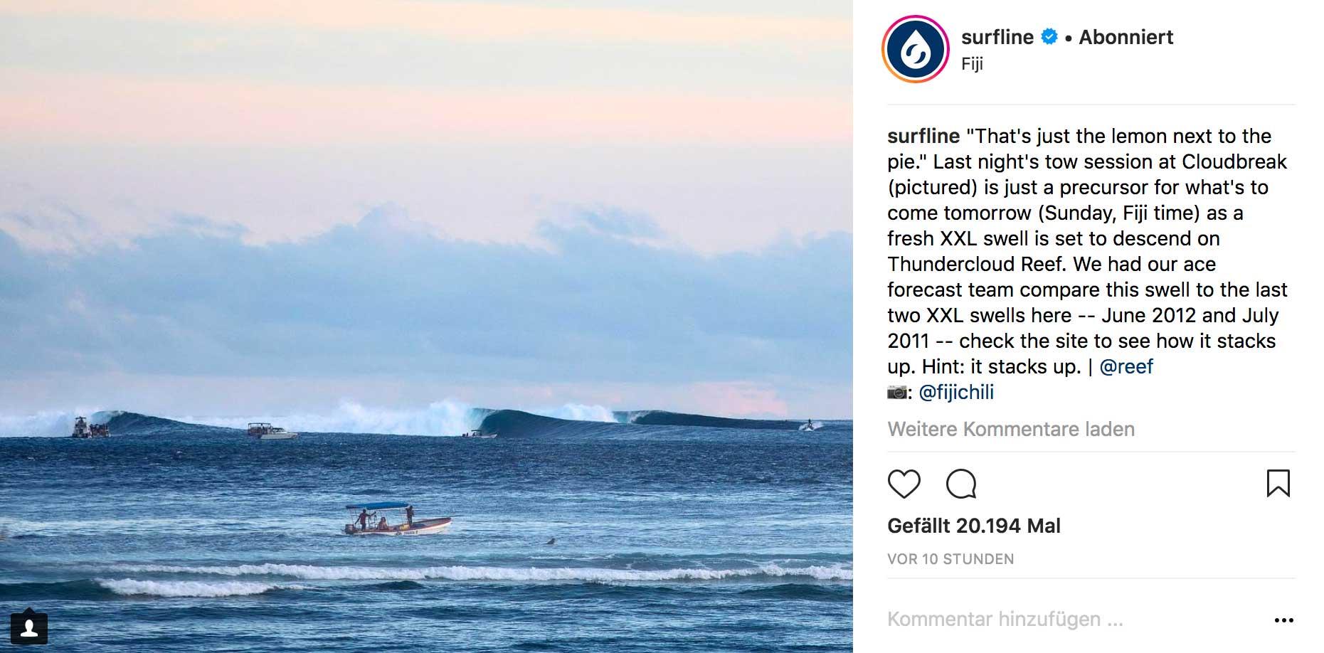 Das Foto wurde am Freitag in Cloudbreak geschossen. Im Vergleich zu Sonntag dürften die Wellen recht klein sein.