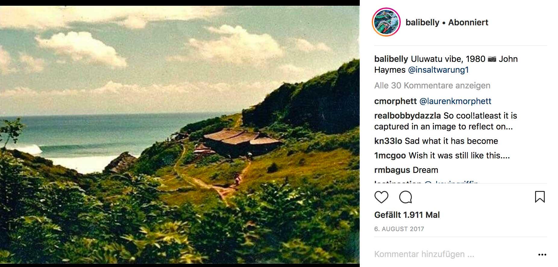So sah der Fußpfad Richtung Uluwatu noch 1980 aus.