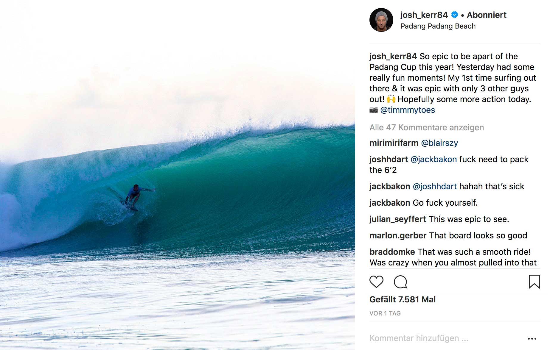 Josh Kerr in seinem Heat in Padang Padang am Sonntag. Der Tag, an dem er diesen Spot zum ersten Mal surfte.